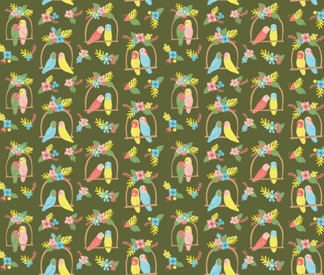Flower Birds- Green fabric by mintgreensewingmachine on Spoonflower - custom fabric