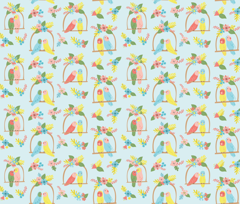 Flowers and Birds- Blue fabric by mintgreensewingmachine on Spoonflower - custom fabric