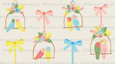 Lovebirds with Ribbons