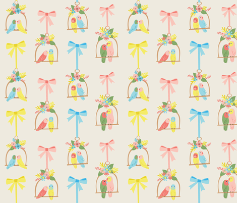 Lovebirds with Ribbons fabric by mintgreensewingmachine on Spoonflower - custom fabric