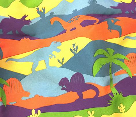 Epoch Dinosaur Layers // colorful papercut dinosaur T-rex triceratops apatosaurus dimetrodon pteranodon palm tree landscape prehistoric paleontology fabric