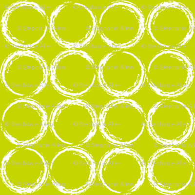 Circles in a geometric pattern on lime green background