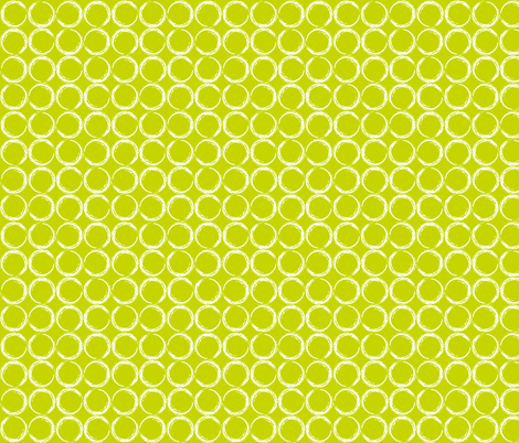 Circles in a geometric pattern on lime green background fabric by thread_sa on Spoonflower - custom fabric