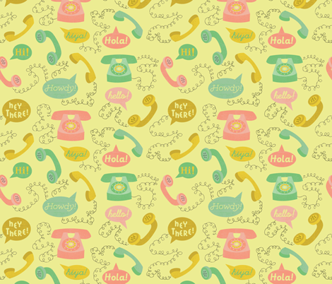 Telephones- Yellow fabric by mintgreensewingmachine on Spoonflower - custom fabric