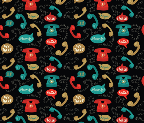 Telephones- Black fabric by mintgreensewingmachine on Spoonflower - custom fabric