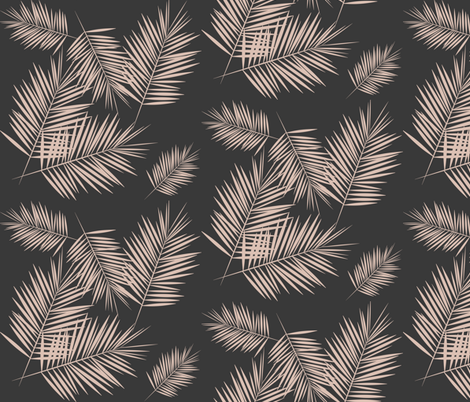 Palm leaves - Palm tree tropical fern leaves blush on graphite || by sunny afternoon fabric by sunny_afternoon on Spoonflower - custom fabric
