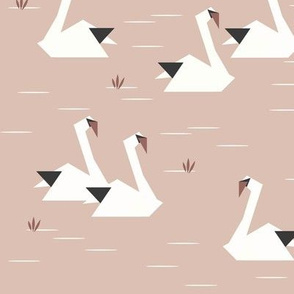 Swans - origami birds water birds geometric blush    by sunny afternoon