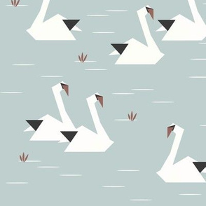 Swans - origami birds geometric birds geo animals water lake seafoam || by sunny afternoon
