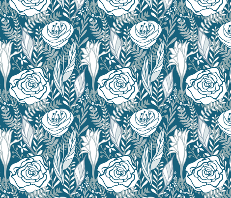 Floral Blues fabric by erinkristin on Spoonflower - custom fabric