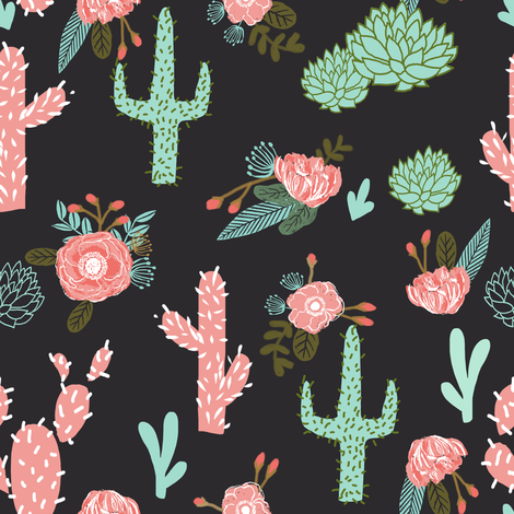 cactus flowers cute girls cacti pink mint cactus and flowers cactus flowers fabric by charlottewinter on Spoonflower - custom fabric