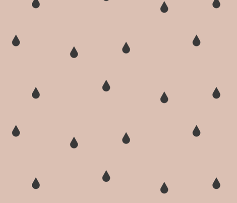 raindrops - graphite on blush    by sunny afternoon fabric by sunny_afternoon on Spoonflower - custom fabric