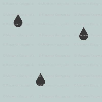 Raindrops - graphite on seafoam pale blue