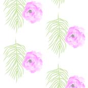 Magenta Tropical Flowers / White