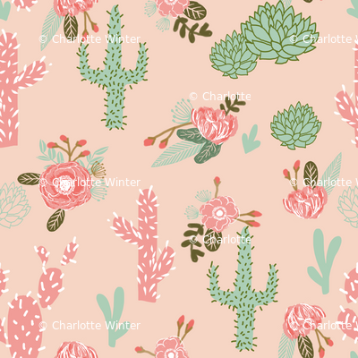 cactus flowers florals peach blush girls pink mint flower