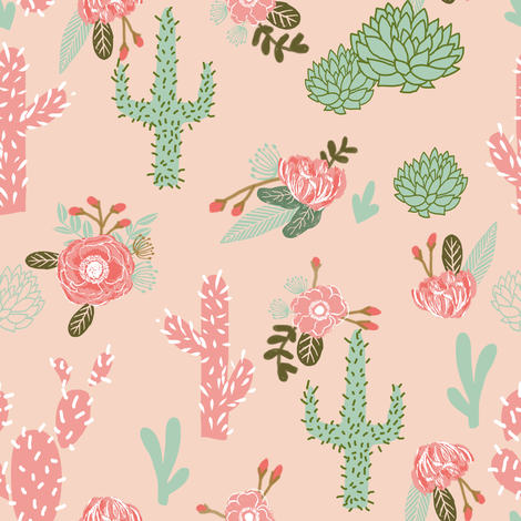 cactus flowers florals peach blush girls pink mint flower fabric by charlottewinter on Spoonflower - custom fabric