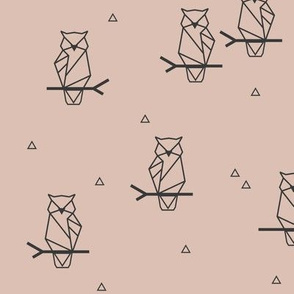 geometric owls - blush forrest woodland || by sunny afternoon