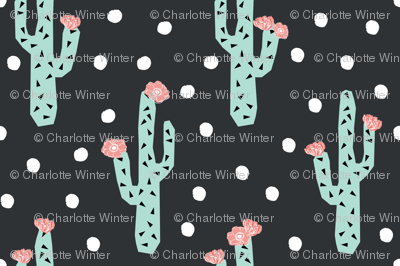cactus florals flower pink and mint flower cacti cactus floral