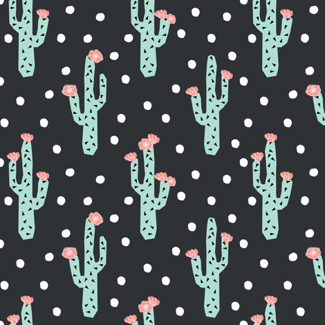 cactus florals flower pink and mint flower cacti cactus floral fabric by charlottewinter on Spoonflower - custom fabric