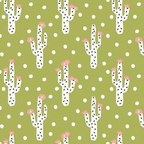 cactus lime green pink mint flowers florals cacti cactus design