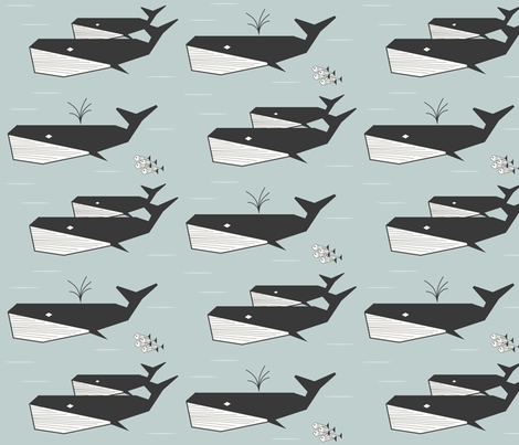 whales - geometric sea foam pale blue water summer ocean || by sunny afternoon fabric by sunny_afternoon on Spoonflower - custom fabric