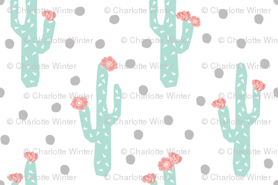 cactus floral flower cacti flowers pink and mint grey and mint and pink