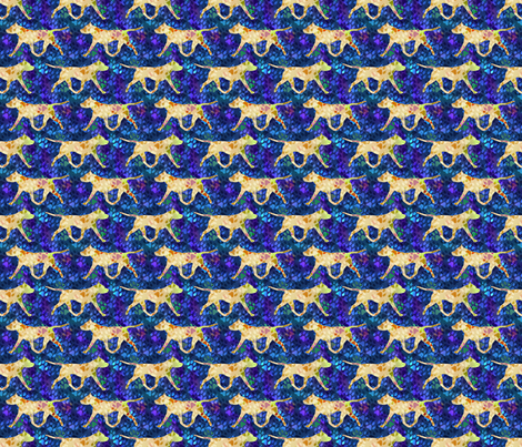 Cosmic trotting American Staffordshire Terrier - night fabric by rusticcorgi on Spoonflower - custom fabric
