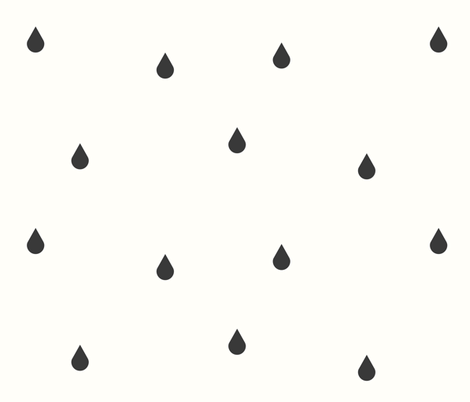 Rain drops - tears tear drops graphite on ivory || by sunny afternoon fabric by sunny_afternoon on Spoonflower - custom fabric