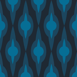 Large Ogee Wallpaper (Deep Indigo)