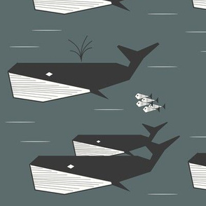 whales - geometric whales, dark green aqua water ocean || by sunny afternoon
