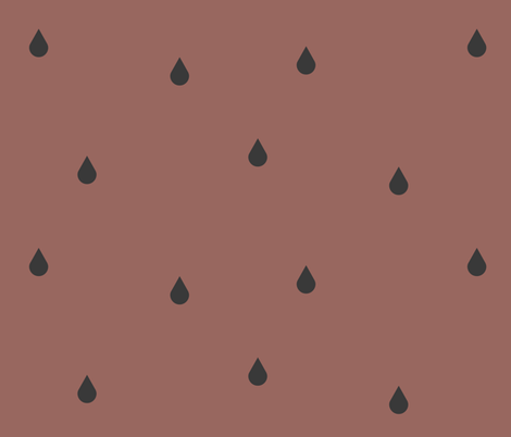 Raindrops - graphite on potters clay  fabric by sunny_afternoon on Spoonflower - custom fabric
