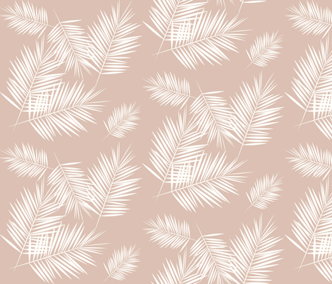 palm leaves - palm tree tropical fern summer ivory on blush || by sunny afternoon fabric by sunny_afternoon on Spoonflower - custom fabric