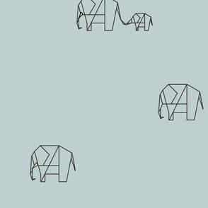 Elephant family - seafoam Safari origami geometric animals || by sunny afternoon