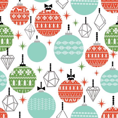 ornaments scandi festive holiday ornaments christmas holiday white background kids christmas ornaments fabric cute designs for kids fabric by charlottewinter on Spoonflower - custom fabric