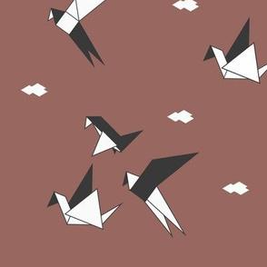 Origami birds - geometric birds geo animals monochrome on burgundy red white
