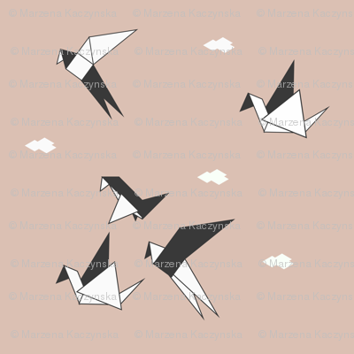 Origami birds - geo birds geometric black and white on blush || by sunny afternoon