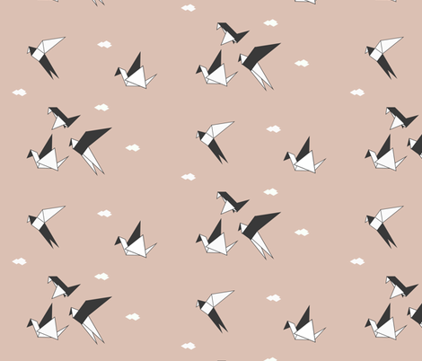 Origami birds - geo birds geometric black and white on blush || by sunny afternoon fabric by sunny_afternoon on Spoonflower - custom fabric