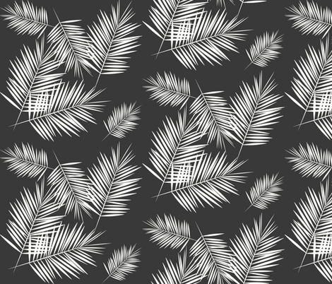 Palm leaves - fern palm tree white on graphite wasgphed black || by sunny afternoon  fabric by sunny_afternoon on Spoonflower - custom fabric