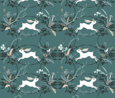 Bunny Prince Damask (teal)  fabric by nouveau_bohemian on Spoonflower - custom fabric