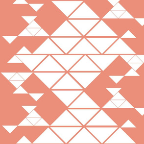 Triangles of different sizes in a x shape pattern with coral background