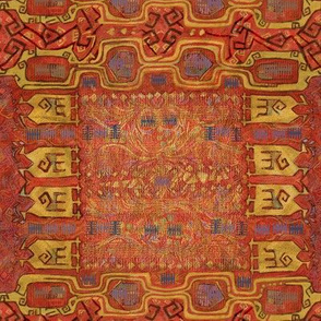 Oriental rug- red carpeting