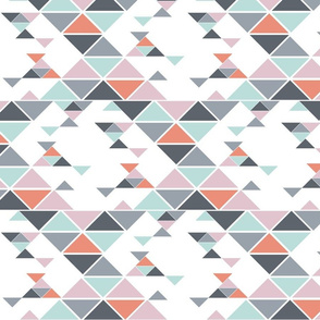 Triangles of different sizes in a x shape pattern with rose color scheme