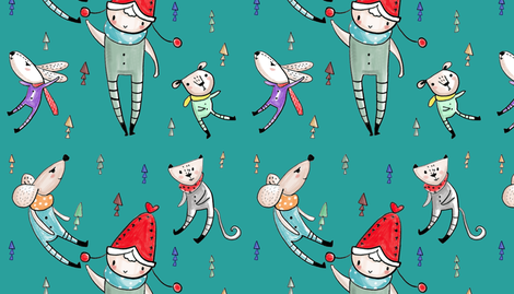 happy time/Green fabric by cch on Spoonflower - custom fabric