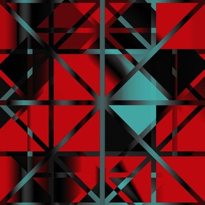 Diamond Checker Aqua Red Black