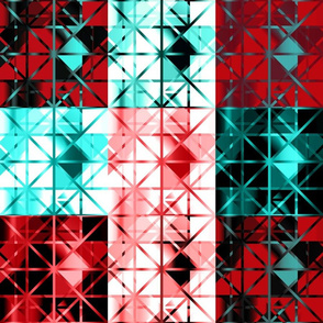 Diamond Quilt Red Black Aqua