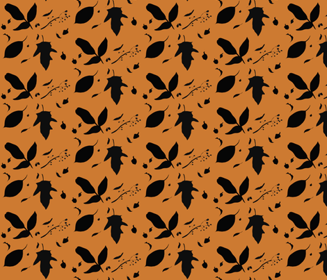 Orange and Black Fall Leaves fabric by chavamade on Spoonflower - custom fabric
