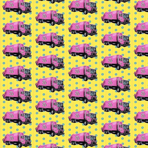 Pink Trash Garbage Trucks Yellow Stripe Small