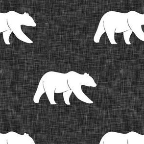 bear on dark grey linen (large scale)