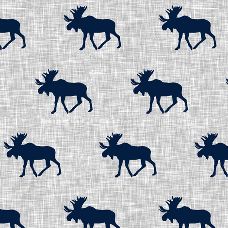 navy moose on light grey linen fabric by littlearrowdesign on Spoonflower - custom fabric