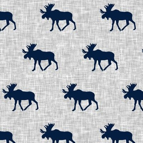 navy moose on light grey linen