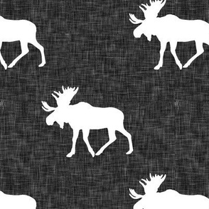 moose on dark grey linen (dark grey)